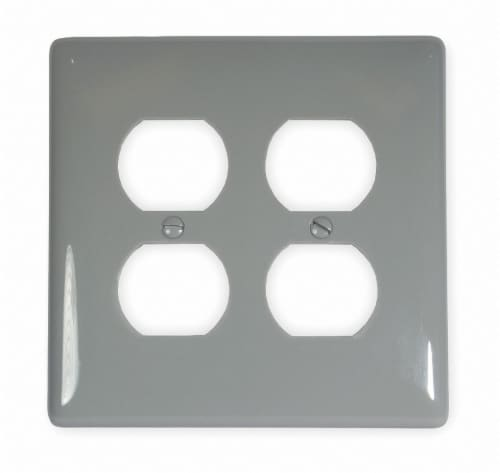 Hubbell Wiring Device-Kellems Duplex Wall Plate,2 Gang,Gray HAWA NPJ82GY Perspective: front