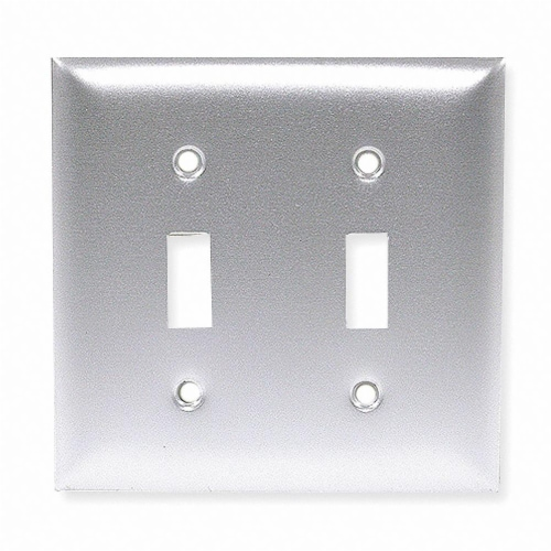 Hubbell Wiring Device-Kellems Toggle Switch Wall Plate,2 Gang,Silver HAWA SA2 Perspective: front