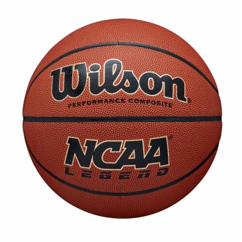 Wilson Sporting Goods NCAA Legend Intermediate Size Basketball - Orange/Black Perspective: front