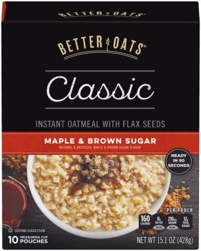 Better Oats Classic Maple & Brown Sugar Instant Oatmeal 10 Count Perspective: front