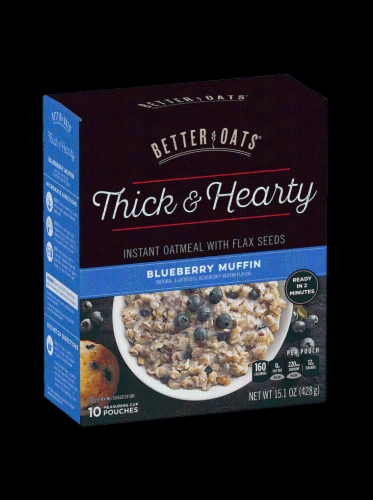 Better Oats Think & Hearty Blueberry Muffin Instant Oatmeal 10 Count Perspective: front