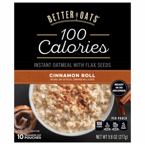 Better Oats 100 Calories Cinnamon Roll Instant Oatmeal 10 Count Perspective: front