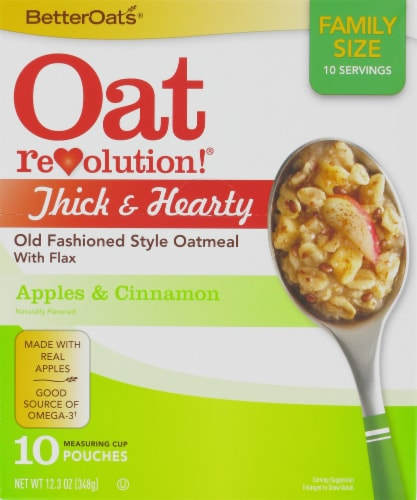 Better Oats Thick & Hearty Old Fashioned Apples & Cinnamon Oatmeal 10 Count Perspective: front