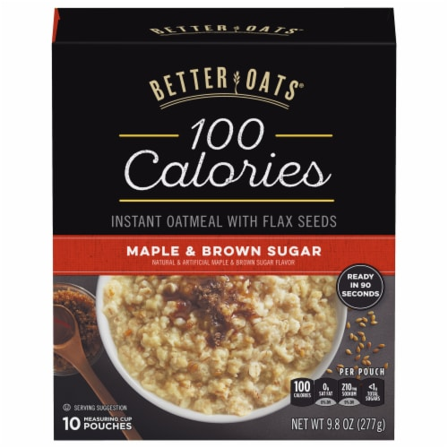 Better Oats 100 Calories Maple & Brown Sugar Instant Oatmeal 10 Count Perspective: front