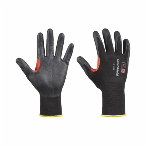 Coreshield™ A1/a Coated Cut Resistant Gloves, 9/L, Nylon, Nitrile Micro-Foam, 18 Ga, Black Perspective: front