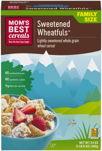 Mom's Best Sweetened Wheatfuls Family Size Cereal Perspective: front