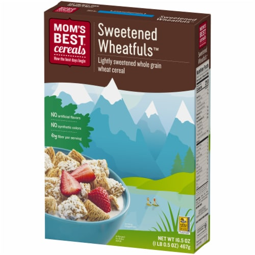 Mom's Best Sweetened Wheatfuls Cereal Perspective: front