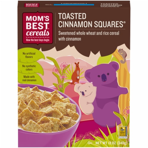 Mom's Best Toasted Cinnamon Squares Cereal Perspective: front