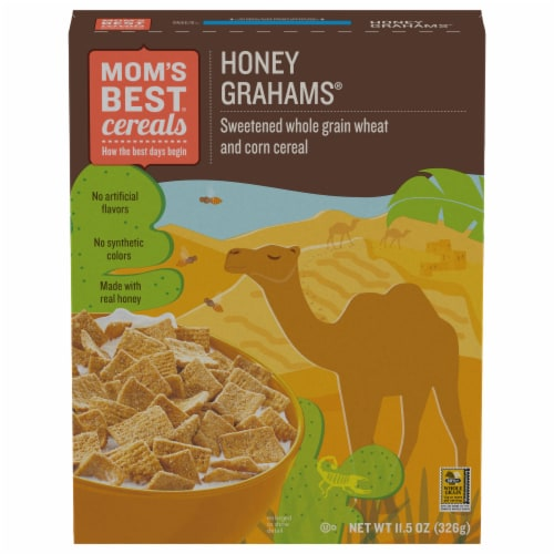 Mom's Best Honey Grahams Cereal Perspective: front