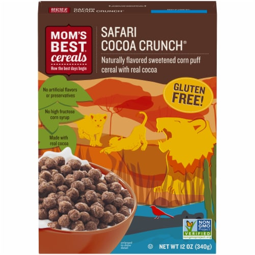Mom's Best Safari Cocoa Crunch Cereal Perspective: front