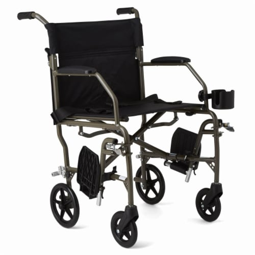 Medline Freedom Transport Wheelchair - Silver Perspective: front