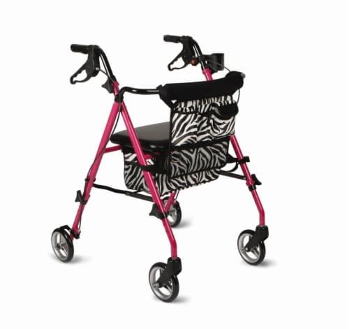 Medline Posh Pink Zebra Steel Rollator Walker Perspective: front