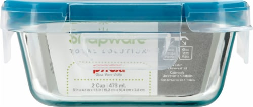 Snapware Total Solution Glass Rectangle Container with Lid - Blue/Clear Perspective: front