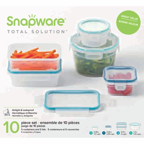 Snapware Total Solution Airtight & Leakproof Plastic Food Storage Set Perspective: front
