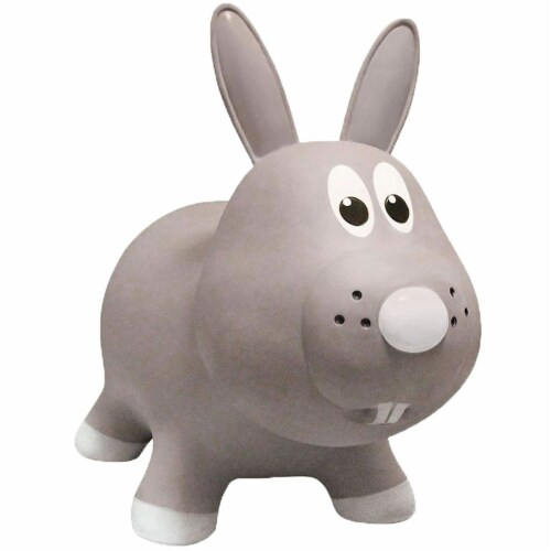 Farm Hoppers Inflatable Bouncing Grey Rabbit Perspective: front