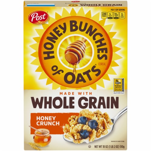 Post Honey Bunches of Oats Whole Grain Honey Crunch Cereal Perspective: front