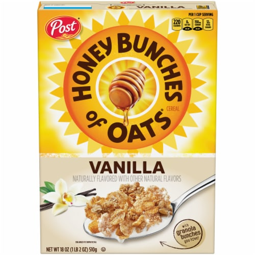 Honey Bunches of Oats Whole Grain Cereal with Vanilla Bunches Perspective: front