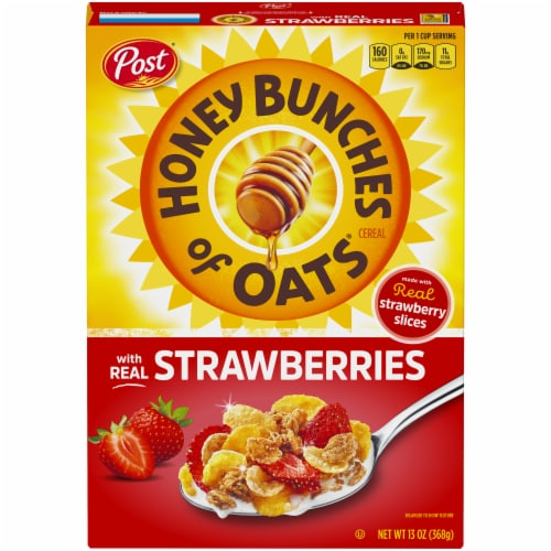 Honey Bunches Of Oats with Real Strawberries Cereal Perspective: front