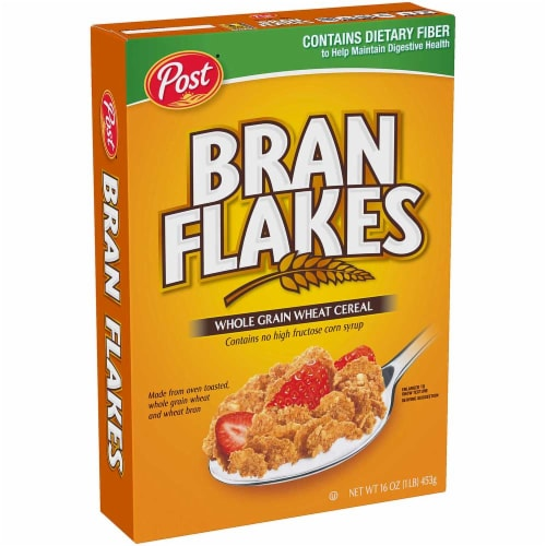 Post Bran Flakes Whole Grain Wheat Cereal, 16 Ounce -- 12 per case. Perspective: front