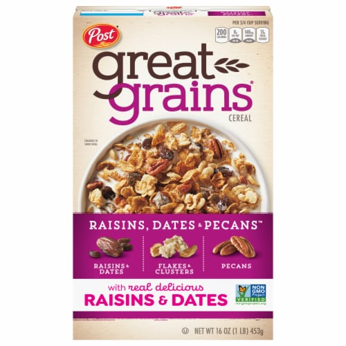 Post Great Grains Raisins Dates & Pecans Cereal Perspective: front