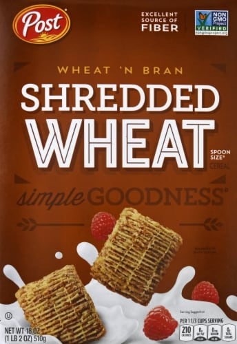 Post Wheat 'N Bran Shredded Wheat Cereal Perspective: front