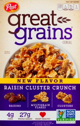 Post Great Grains Raisin Cluster Crunch Cereal Perspective: front