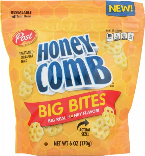 Post Honey-Comb Big Bites Sweetened Corn & Oat Snack Perspective: front