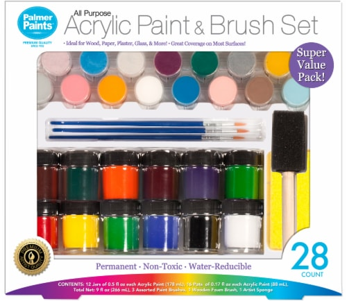 Palmer Paints All Purpose Scrylic Panit & Brush Set Perspective: front