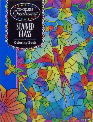 Timeless Creations Stained Glass Coloring Book Perspective: front