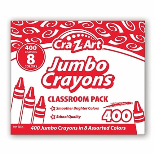 Cra-Z-Art Jumbo Crayons, 8 Assorted Colors, 400/Pack 740051 Perspective: front