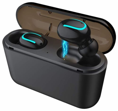 AD Q32 Hi-Fi Bluetooth 5.0 Ear-Buds w/ Noise Cancel, easy pairing & Long Battery -CHARGE CASE Perspective: front