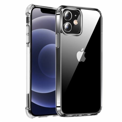Crystal Clear Case- iPhone 12, Shock Absorbing Bumper, Shockproof, Screen & Camera Protection Perspective: front