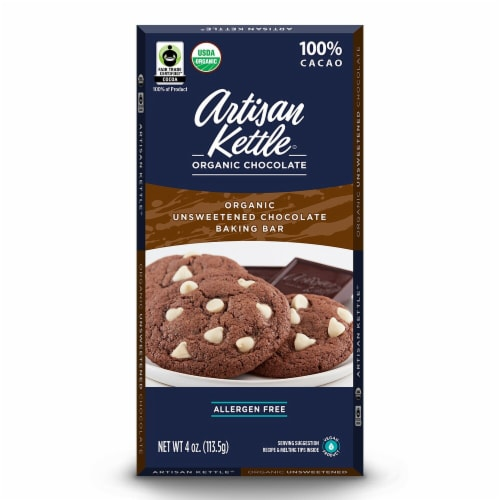 Artisan Kettle Organic Unsweetened Chocolate Baking Bar Perspective: front