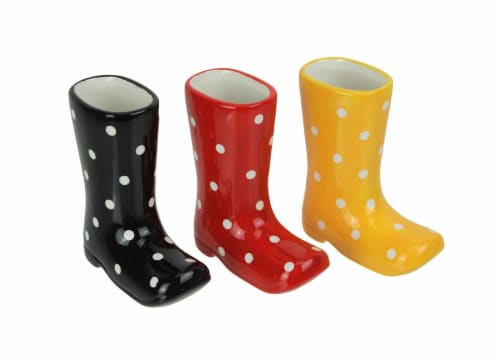 Set of 3 Colorful Polka Dot Ceramic Rain Boot Mini Planters 5 Inches High Perspective: front