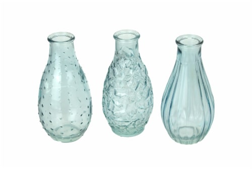 Set of 3 Light Blue Decorative Textured Glass Bottle Bud Vases 5.75 Inches High Perspective: front