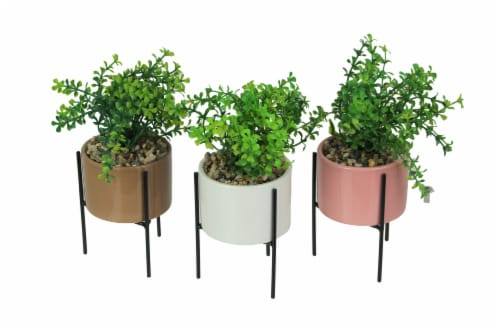 Set of 3 Artificial Potted Gravel Succulent Plants With Ceramic Planters And Metal Stands Perspective: front