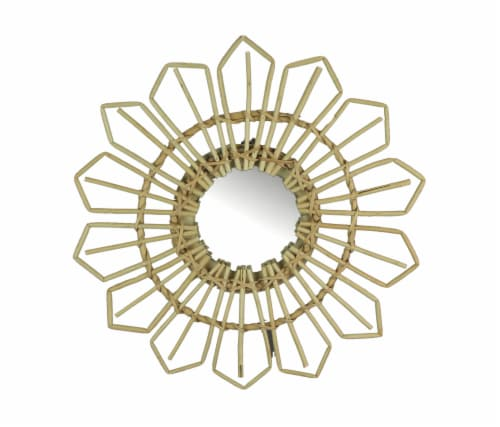 Natural Willow Wicker Framed Geometric Design Wall Mirror 17 Inch Diameter Perspective: front