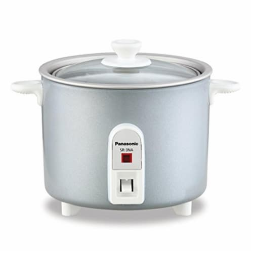Panasonic SR-3NAL Mini-Rice Cooker, Non-Stick Pan with Glass Lid & 1.5 cup Perspective: front