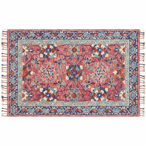 Loloirugs ZHARZR-03RODE5076 Zharah Rose And Denim Transitional Area Rug, Red - 5 ft. x 7 ft. Perspective: front