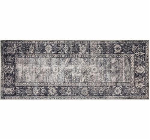 Loloi Ankara Floor Runner - Dark Gray Perspective: front