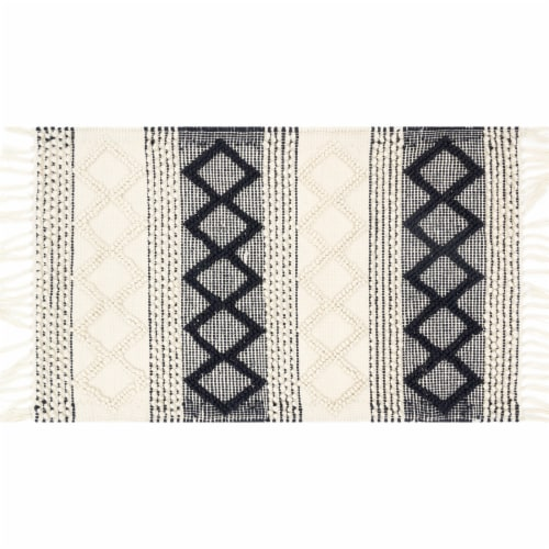 Loloi Chipper Accent Rug - White/Black Perspective: front