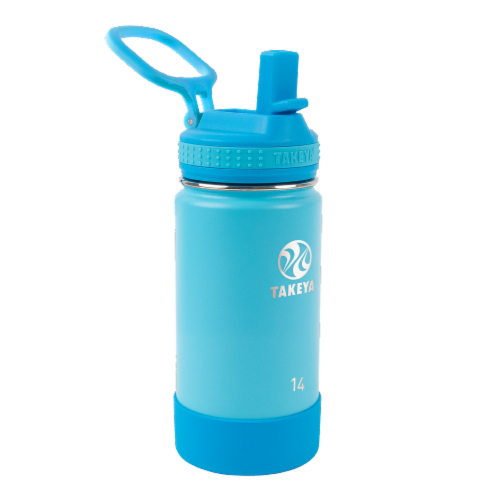 Takeya Actives Kids Insulated Stainless Steel Bottle, Straw Lid - Sail Blue / Atlantic Perspective: front