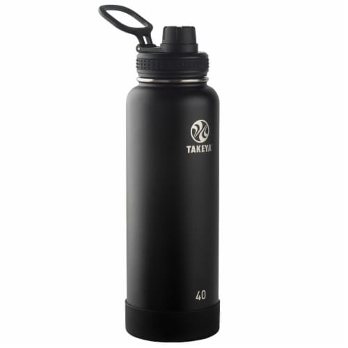 Takeya Actives Insulated Stainless Steel Water Bottle - Onyx Perspective: front
