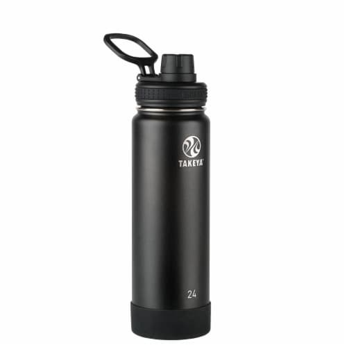 Takeya Actives Insulated Stainless Steel Spout Lid Water Bottle - Onyx Perspective: front