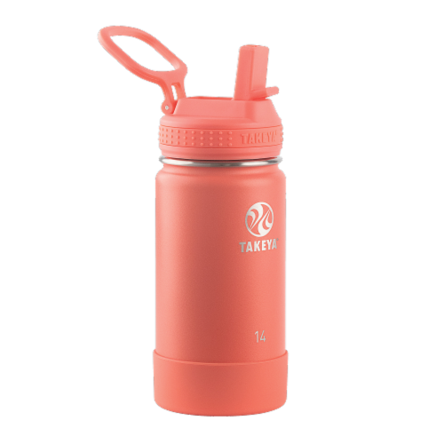 Takeya Active Kids Straw Water Bottle - Coral Perspective: front