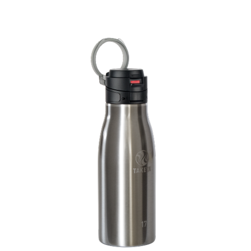Takeya Actives Traveler Insulated Stainless Steel Bottle with Flip Cap - Silver Perspective: front