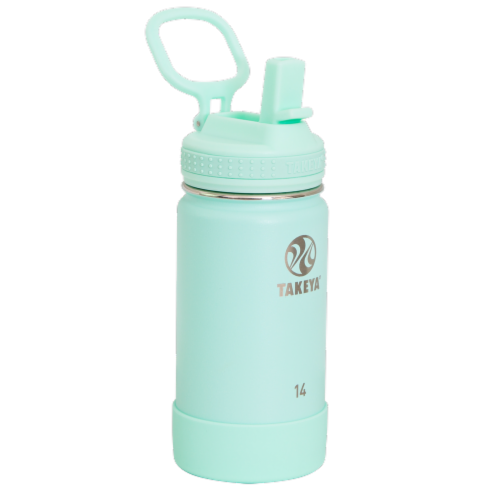 Takeya Active Kids Straw Bottle - Aqua Perspective: front