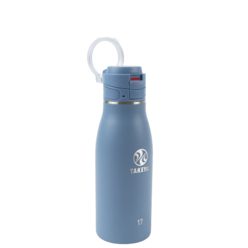 Takeya Actives Traveler Insulated Stainless Steel Bottle with Flip Cap - Bluestone Perspective: front
