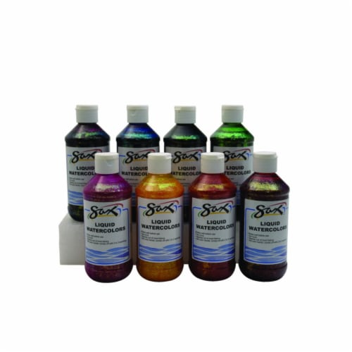SAX 1567860 8 oz Washable Liquid Watercolor Paint, Assorted Glitter Colors - Set of 6 Perspective: front