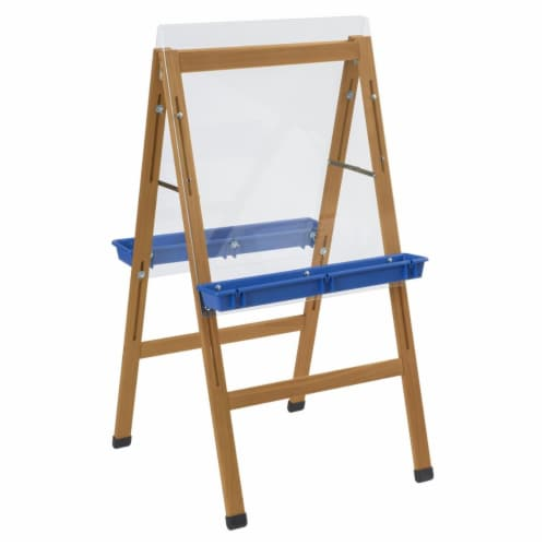Childcraft 2004412 24 x 26.63 x 44.5 in. 2 Blue Paint Trays Outdoor Easel Perspective: front